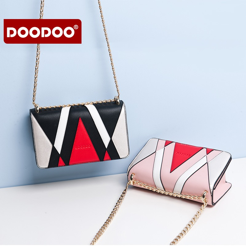 DOODOO Brand Women Bags Flap Woman Crossbody Bags Shoulder Designer Bag Patchwork 2018 New Small Messenger Bags Ladies Handbags new 2017 women messenger bag brand fashion elegant acrylic eye eveng bag woman party prom shoulder bags cartoon patchwork clutch