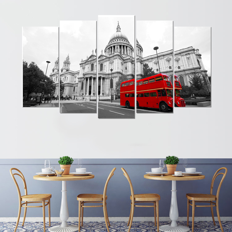 Waterproof realistic Nordic canvas painting modern art prints 5 psc landscape wall picture for living room bedroom lobby hotel in Painting Calligraphy from Home Garden