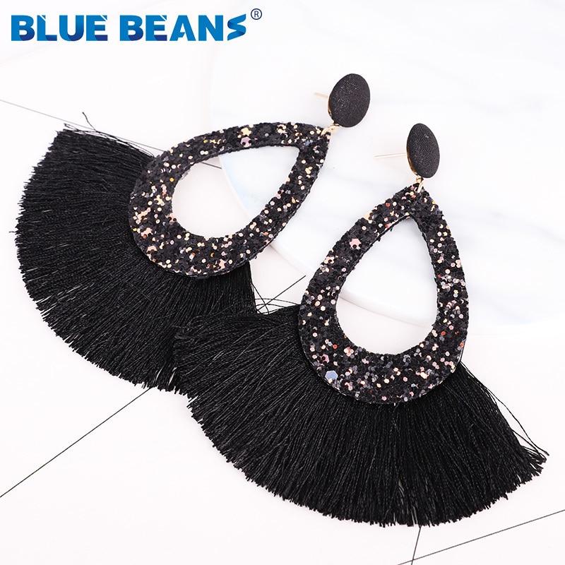 Tassel Earrings Shining Fashion For Women Boho Water Drop Earring Handmade Big Drop Dangle Round Jewelry Party gift statement 12
