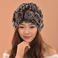 2016 Woman Winter Warm Fur Knitted Hat For Girls Beanies Floral Cap For Ladies
