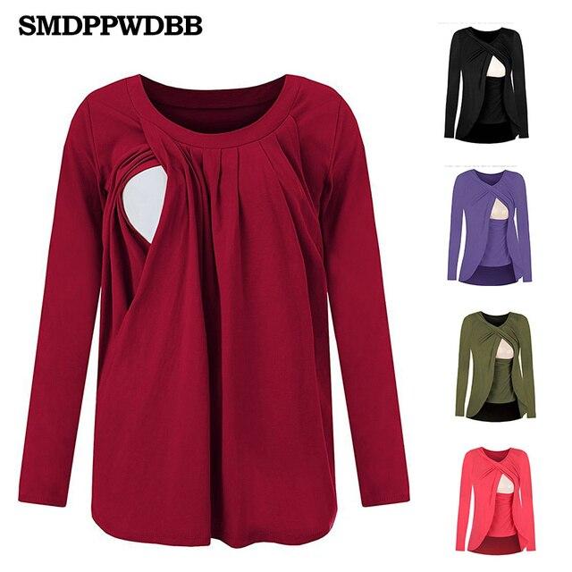 39ee186049e 2018 Cotton Nursing Clothes T-shirt long sleeve Breastfeeding Nursing  Clothes Breathable Maternity Nursing Tops Pregnant clothes