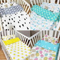 Baby Bedding Set Crib Bed 100% Cotton 3 Pcs Set Pillow Case Bed Sheet Duvet Cover Cartoon Printing Suit for Size 120*65cm Bed