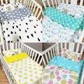 Jogo do Fundamento do bebê Berço Cama 100% Algodão 3 Pcs Set Travesseiro caso Folha de Cama Capa de Edredão de Impressão Dos Desenhos Animados Terno para o Tamanho 120*65 cm cama