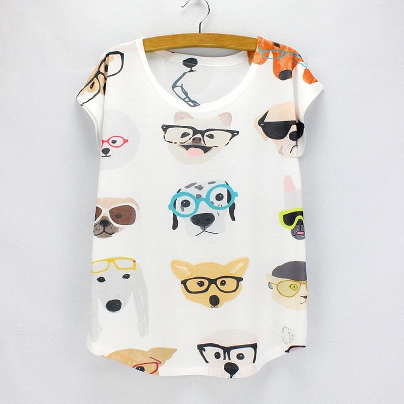 Cute Dogs printing summer top tees women fashion style t shirts girls printing tshirt wholesale drop shipping shoulder bag
