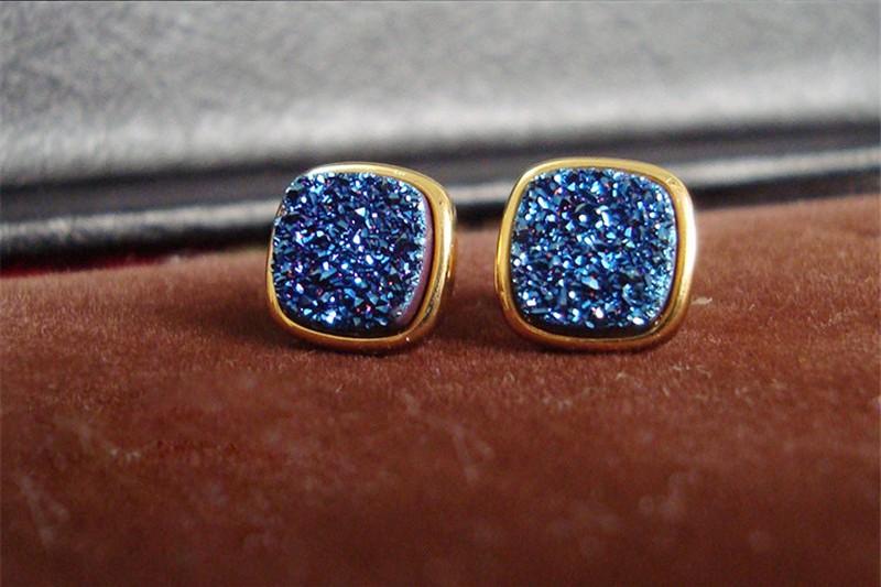 Brazil Hot Design Female Druzy Bijoux Gold Plated Round Blue Quart Natural Agate Druzy Earrings Fashion Stud Earrings for Women-4