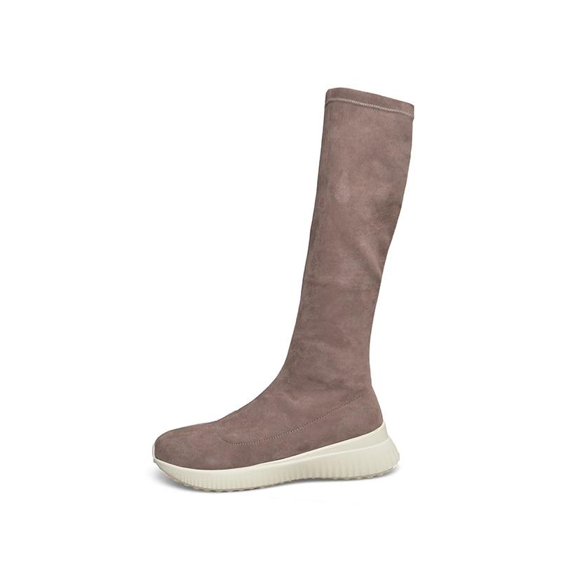 Zapatos Plana Única Mujer 2018 Calzado Botas khaki Suede Estiramiento Alta Negro Otoño Piel Plataforma Toe Nuevo Ronda Rodilla Wetkiss 4ZcWOPc