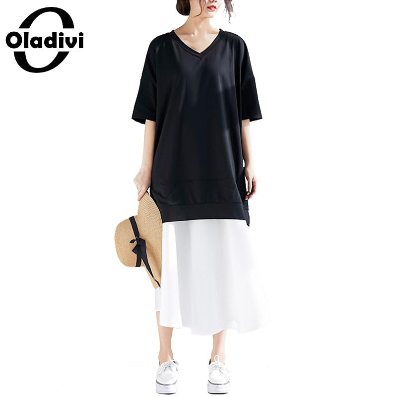 6631c788e9f Oladivi Plus Size Women Pathwork Faux Two Pieces Cotton Chiffon Dress  Ladies Casual Loose Midi Dresses