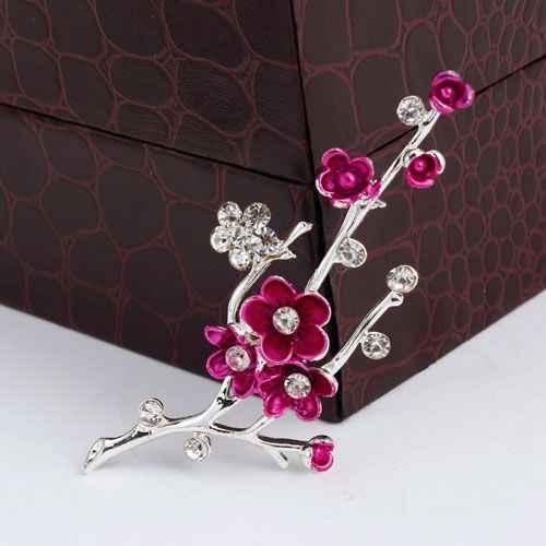 HOT MENJUAL Baru Perak Alloy Berlian Imitasi Plum Bunga tanaman Bros Pin Gesper, perhiasan Imitasi Bunga Perempuan Broch