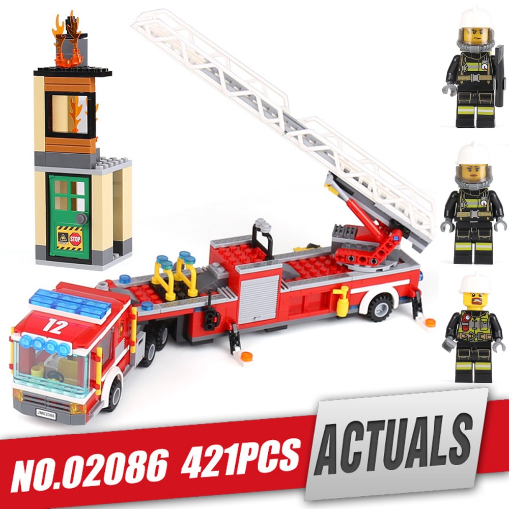 LEPIN City 02086 Ladder fire truck Building Blocks Bricks enlighten toys for children Birthday gifts brinquedos legoing 60112 hot city fire rescue ladder engine truck building block fireman figures bricks educational toys for children gifts