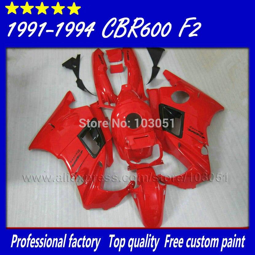 Custom motorcycle fairings set for Honda big red 1993 1994 CBR 600 F2 1991 1992 CBR600 91 92 93 94 F2 CBR600 F road fairing kit