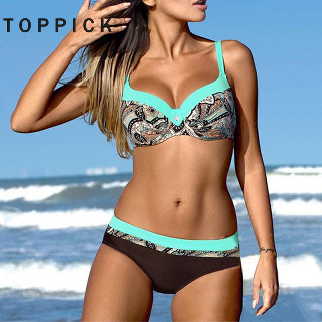 a757b089a38 Push Up Bikini 2018 Print Patchwork Plus Size Swimwear Women Halter Top  Swimsuit Women Bathing Suit