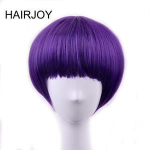 HAIRJOY Synthetic Hair Purple Wigs Women Short  Straight Cosplay Wig