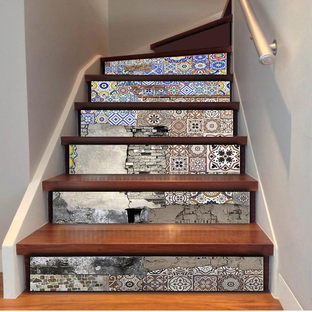 Merveilleux US $29.85 |6pcs/Set Self Adhesive Stairway Mural Wallpaper Removable Wall  Decals Western Style Wall Painting For Living Room Home Decor In Wallpapers  ...