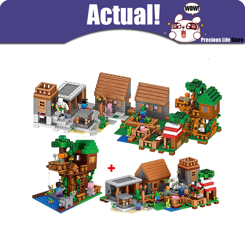 цена на LELE 33068 1516PCS My World Minecraft The Village & Jungle Tree House action figures Building Block Bricks Toy For Children Gift
