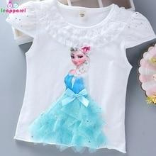 New Summer Princess Girls T Shirt Ana Elsa Children Cotton Tops Tees Lace T-Shirt Diamond Appliques Kids T-shirt