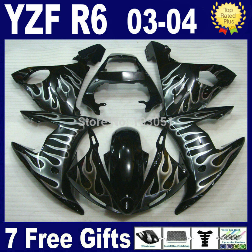 7 gifts Custom motorcycle fairing kits For Yamaha YZFR6 03 04 05 white flame black  YZF R6 2003 2004 2005  bodywork Fairings kit mfs motor motorcycle part front rear brake discs rotor for yamaha yzf r6 2003 2004 2005 yzfr6 03 04 05 gold