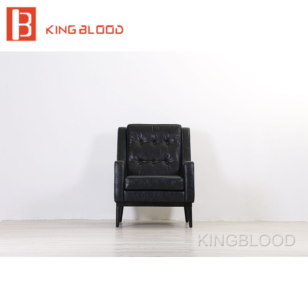 American style classic black genuine leather single sofa chair-in ...