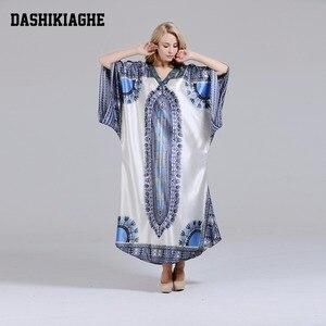 Image 2 - ユニークなdashikiageダイヤモンド襟見事なエレガントなアフリカdashiki女性ドレス