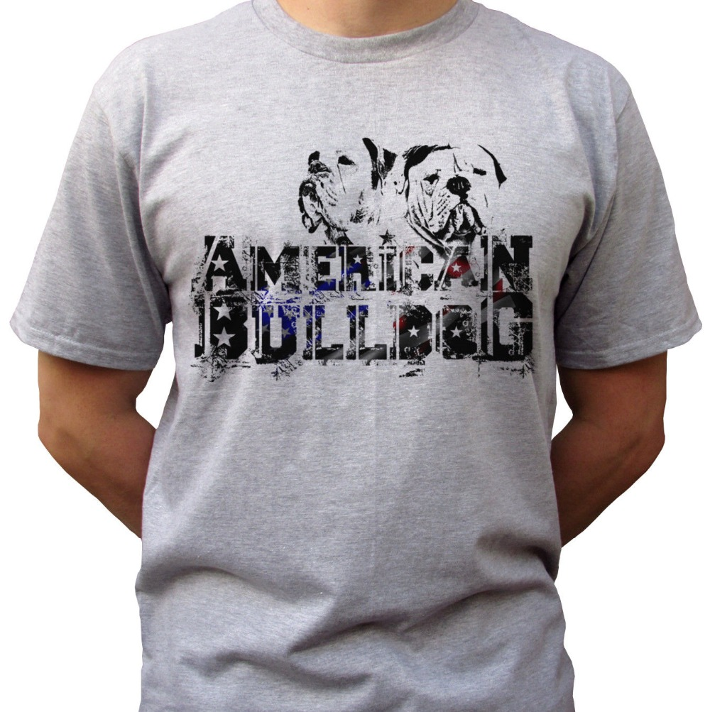 Men 2018 Summer Round Neck Mens T Shirt Tops American Bulldog Logo - Grey T Shirt Top Tee Dog Design - Mens Size Tee Shirt