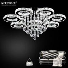 Современные светодиодные люстры из нержавеющей стали, хрустальные лампы для гостиной, спальни, алмазные кольца, светодиодные хромированные светильники, освещение
