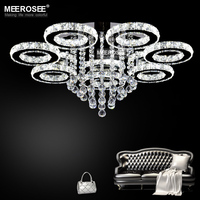 Modern LED Chandeliers Light Stainless Steel Crystal Lamp For Living Bedroom Diamond Ring LED Lustres Chrome