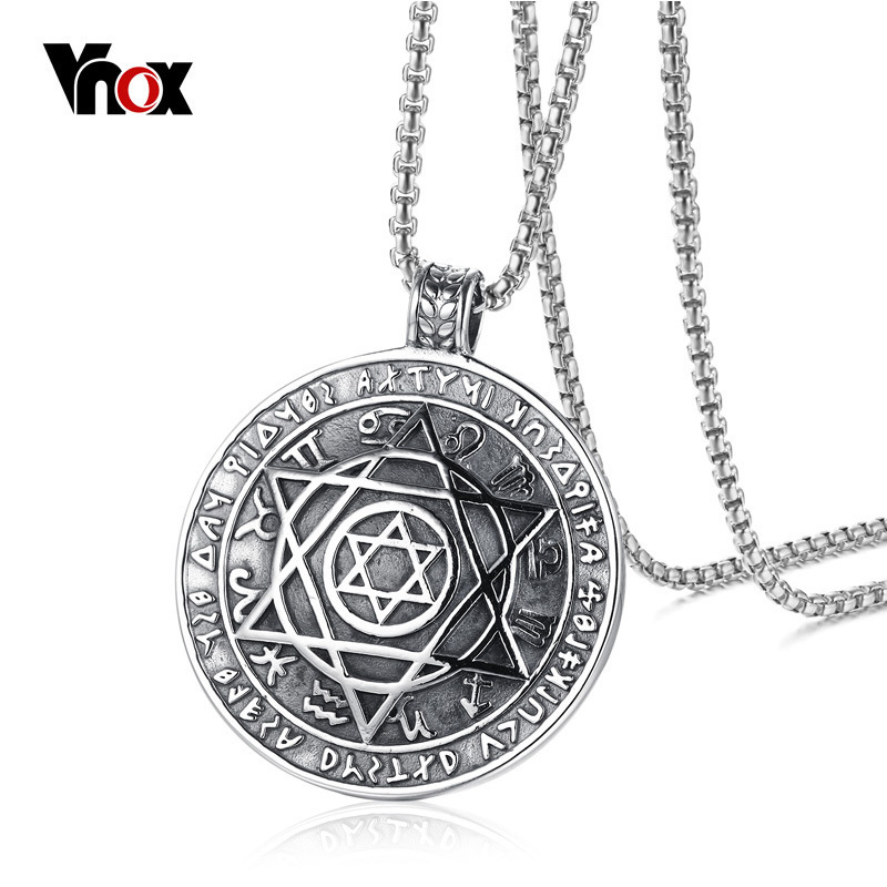 Vnox israel star of david pendant necklace for men vintage for Star of david necklace mens jewelry
