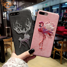 Hot Luxury Leather Embroidery Elk Flamingo Phone Case For iPhone6 6S 7 8 Plus X XR XS Max Back cover Samsung S9 S8 not8