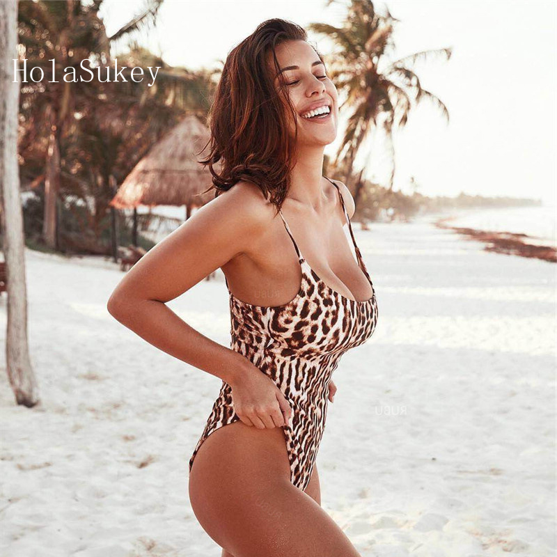 Body Suits Holasukey Leopard Print One Pieces Swimsuit Women 2019 New Swimwear Sexy Bathing Suit Conjoined Patterned Maillot Monokini