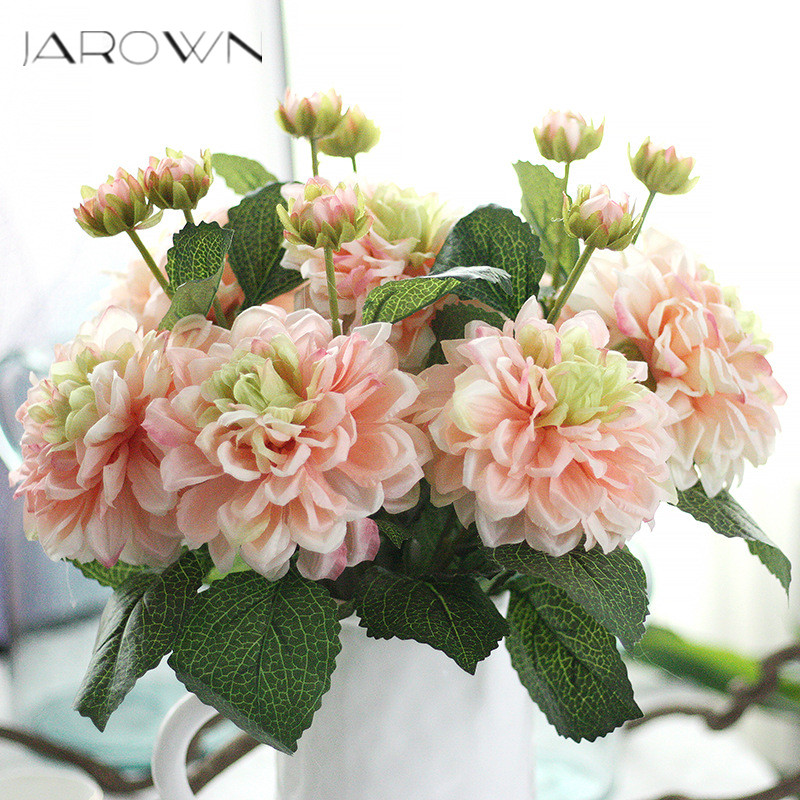 Artificial Silk 1 Bunch Dahlia Floral Bouquet Fake Flower Arrange Table  Daisy Wedding Home Decor Party Accessories Flores Red
