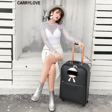 CARRYLOVE Fashion cartoon luggage series 16/20/24 inch High quality PU Rolling Luggage Spinner brand Travel Suitcase цена