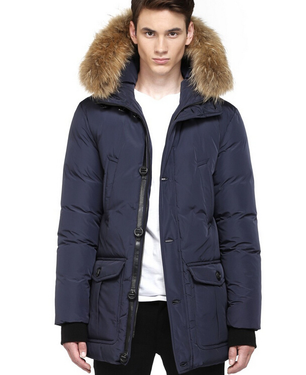 2014 New Brand Mackage coats men's down jacket dark blue XS XXL/BRYAN DOWN  PARKA WITH FUR HOOD TRIM Free Shipping-in Parkas from Men's Clothing ...