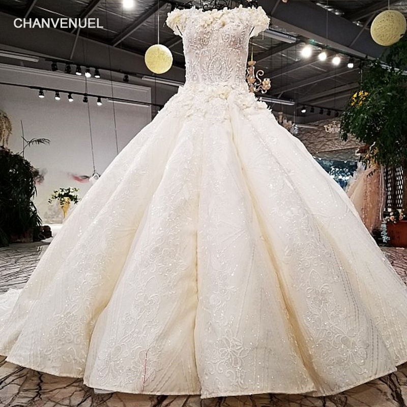 LS67721 luxury puffy ball gown wedding dress off shoulder super big skirt appliques real ...