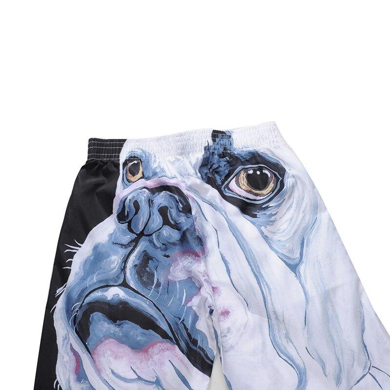 Riinr 2018 Mode Neuen Ankunft männer Strand Shorts Hohe Qualität Urlaub Strand Shorts Bulldog 3D Druck Männer Knielange hose