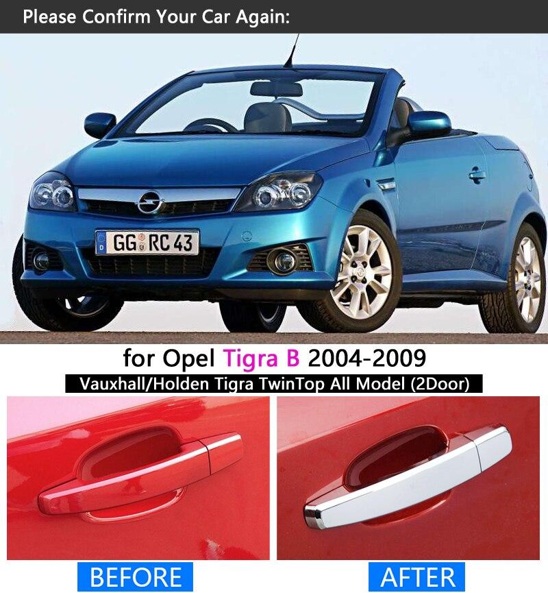BNHHB Couvercle de poign/ée de Porte de Voiture pour Opel Tigra B 2004-2009 Accessoire de d/écoration de Style Garniture de Couvercle de Protection ext/érieure chrom/ée