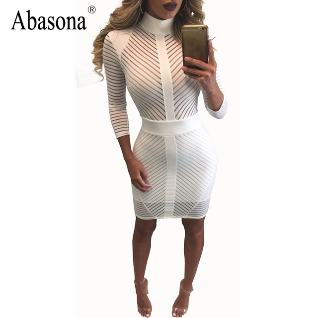Nova chegada 2017 inverno sexy bandage bodycon partido vestidos de gola alta manga comprida branca elegante sheer malha lace dress