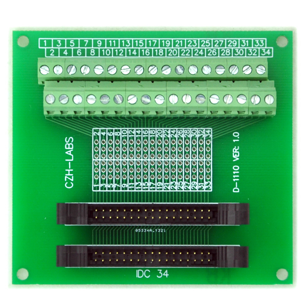 IDC-34 2x17pins 2.0mm Dual Male Header Breakout Board, Screw Terminal Connector.