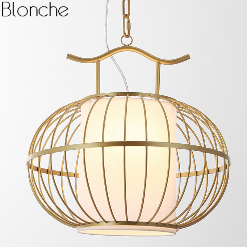 Chinese Style Gold Cage Pendant Lights Led Hanging Lamp Dining Room Kitchen Light Fixtures Industrial Lamp Home Decor LuminaireChinese Style Gold Cage Pendant Lights Led Hanging Lamp Dining Room Kitchen Light Fixtures Industrial Lamp Home Decor Luminaire