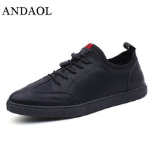 ANDAOL Mens Leather Casual Shoes Top Quality Non-Slip Lace-Up Student Trainers New Luxury Brand Campus Sneakers Designer