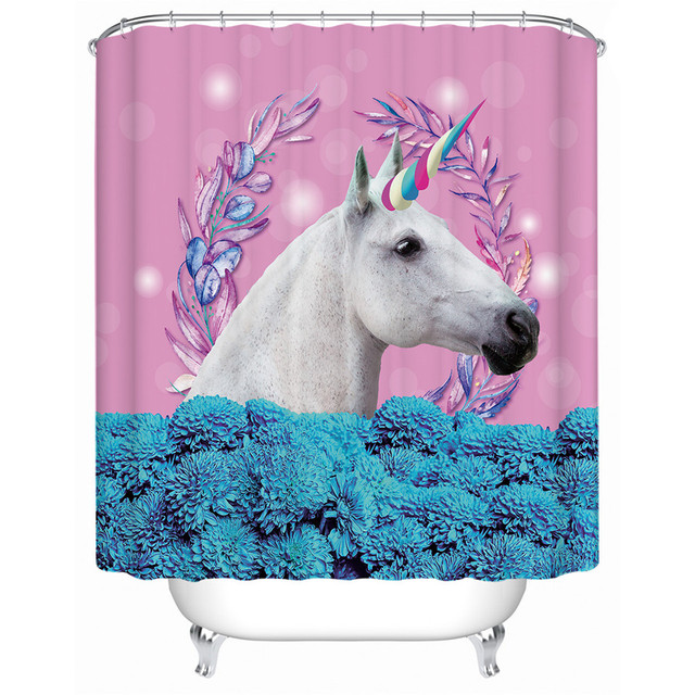 Unicorn Shower Curtain Floral Pink And Blue Waterproof Decorative Bath With Hooks For Kids Bathroom