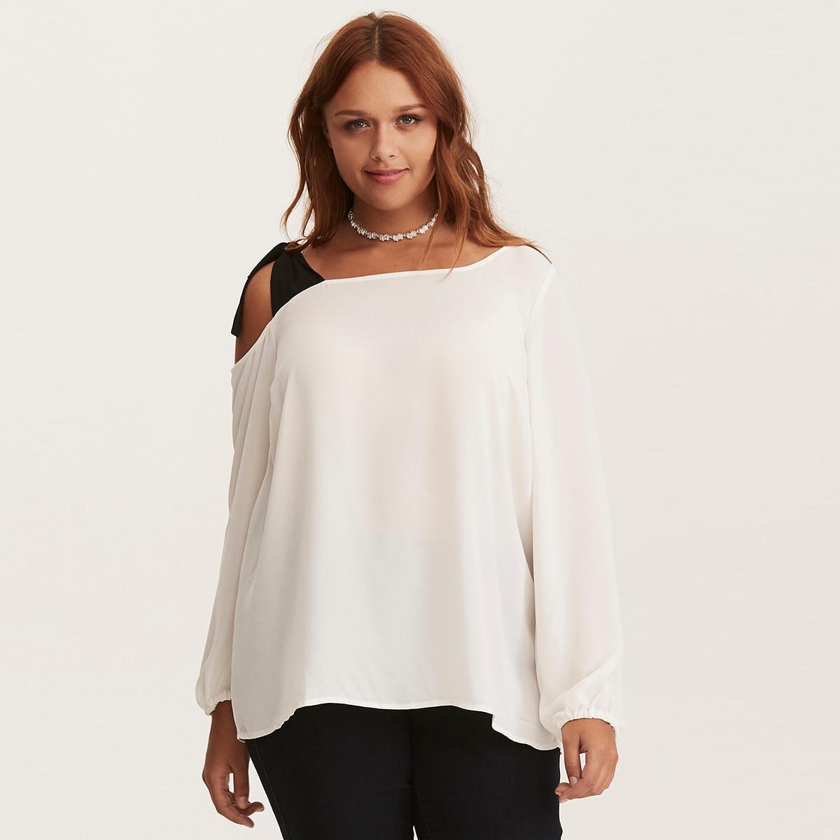 MCO 2018 Spring Sexy Tie One Shoulder Plus Size Women Top Fashion Office Ladies Oversized Blouse Basic OL White Tops 5xl 6xl 7xl 1