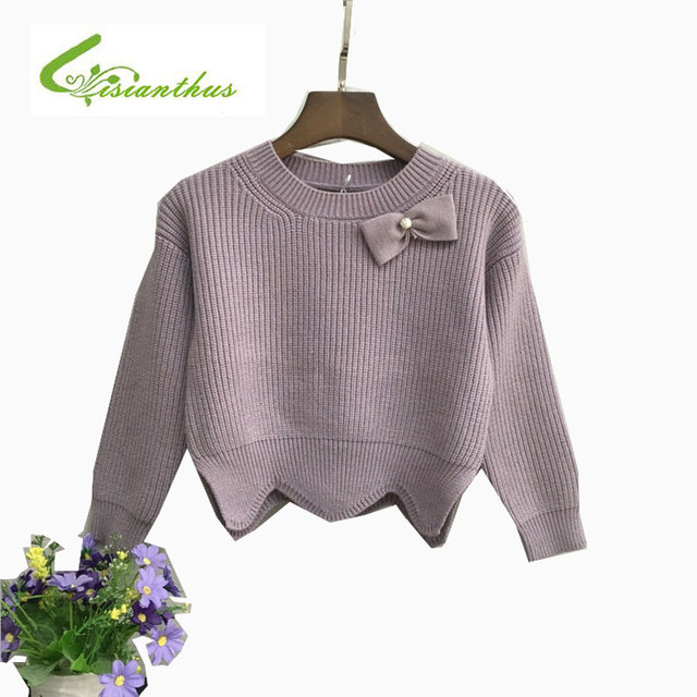 Fashion Children Clothing Knitted Sweater for Girl Winter Long-Sleeve Irregular hem Sweater Cute Bow Knot Decoration outwear