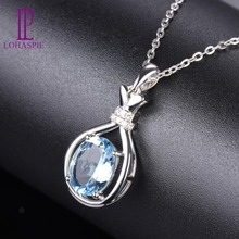 hot deal buy lohaspie aquamarine white golid pendant natural solid 18k 750au gemstone diamond-jewelry fine fashion stone jewelry for gift new