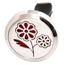 Beautiful Flower 30mm Diffuser 316 Stainless Steel Car Aroma Locket Essential Oil Car Diffuser Locket Free