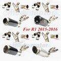 PARA R1 2015-2016 top aço carbono Universal Motocicleta Modificado Scooter GY6 tubo de Escape tubulação Mufla com mid CBR CBR125 CBR250