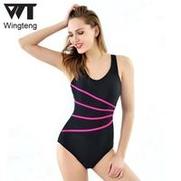 Women Professional One Piece Swimwear Female Bodysuit push up Swimsuit Sports Racing Competition Tight Knee Classic Bathing Suit