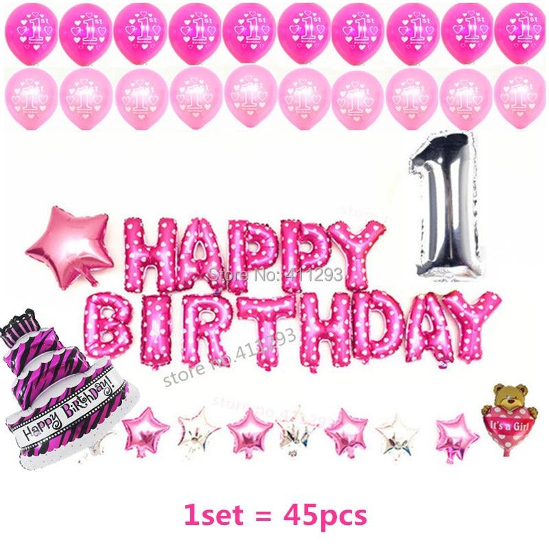 Conjunto de globos de cumpleaños Globos de fiesta de cumpleaños rosa Cumpleaños globo niña niño azul Feliz cumpleaños globo