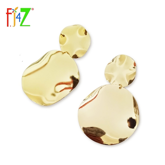 F.J4Z New Trending Earrings Stunning Shinning Gold-color Uneven Circle Statement Drop Earrings for Women Bijoux