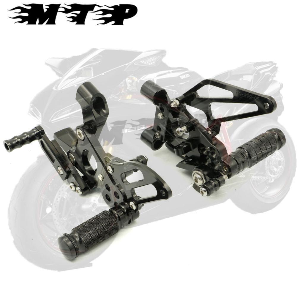 Black CNC Adjustable Rearset Footrest Rear Sets For Ducati 1199 Panigale S 2012 2013 2014 12