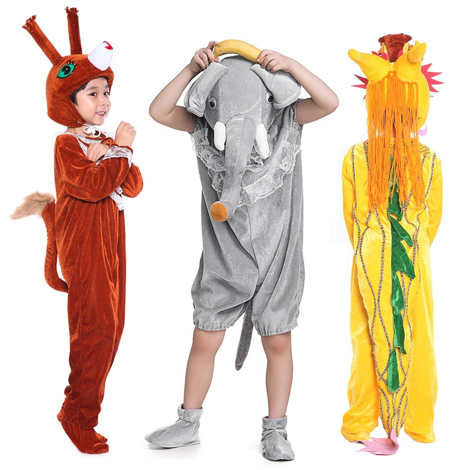 kids girls boys animal plush hooded jumpsuit cosplay halloween costume cartoon elephant dragon bee squirrel onesie costume in clothing sets from mother