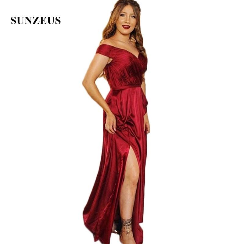 Burgundy Satin A Line Bridesmaid Dresses Sweetheart Off